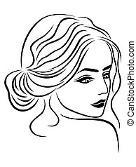 Abstract female head outline