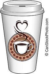 Coffee To Go Cup Design With Steaming Heart is an...