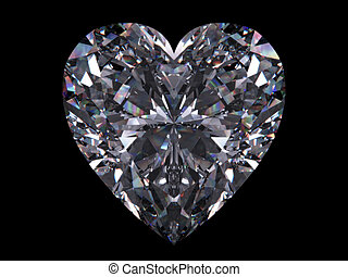 Diamond heart - Love, valentine day series; 3d isolated...