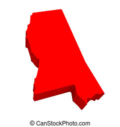 Mississippi MS Red USA 3d State Map