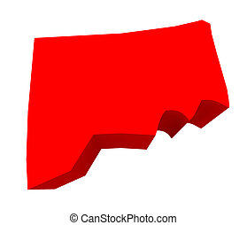 Connecticut Red 3d USA State Map