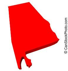 Alabama AL Red 3d State Map