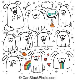 Set of 10 dogs doodle handmade. Dogs with emotions. Painted...