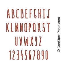 Set of letters and numbers, handmade. Sketch font