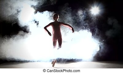 Pretty little girl ballerina in dress posing, smoke - Pretty...