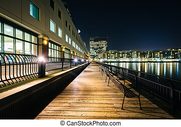 Benches and buildings along a walkway in Jersey City, New...