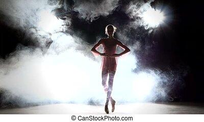 little ballerina dancer in a pink dress, smoke - Beautiful...