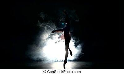 Beautiful expressive ballet dancer dancing at studio Smoke...