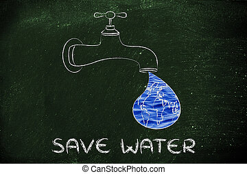 save water: the world in a droplet from the tap with water...