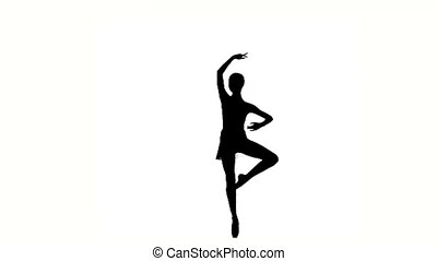 Beautiful Young ballerina girl dancer silhouette - Young...
