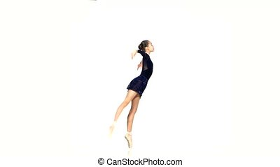 ballet dancer isolated on white background - beautiful woman...
