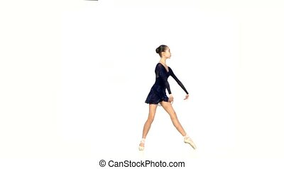 ballet dancer in black dress isolated on white - beautiful...