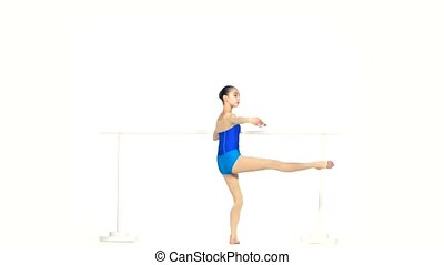 ballet girls posing  in blue dress together