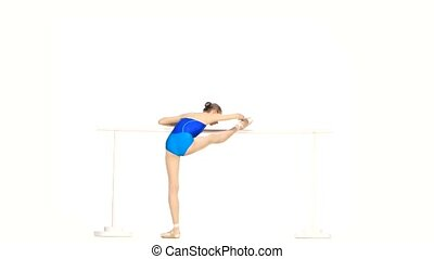 little ballet dancer isolated on white - beautiful woman...