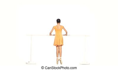 ballet dancer in yellow dress isolated on white - beautiful...