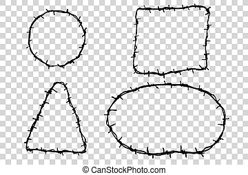 Four Barbed Wire - Hand Draw sketch of four Barbed Wire...