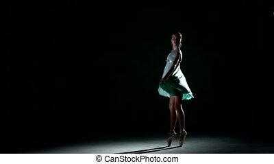 little Ballerina posing on Black - Charming curly girl...