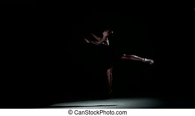 ballet dancer isolated on black background - beautiful woman...