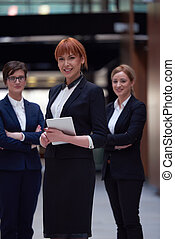 business woman team - young business woman group, team...