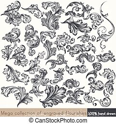 Collection of vector hand drawn flourishes in engraved...