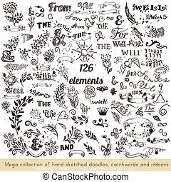 Collection of vector hand sketched doodles, catchwords and...