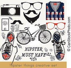 Creative set of hipster must have glasses, kedas, t-shirt,...