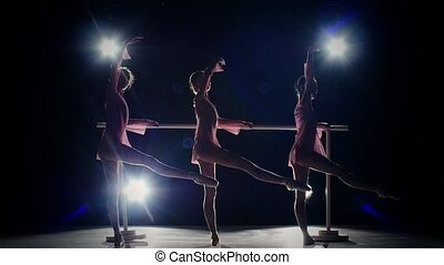 little ballet girls at ballet barre. slow motion