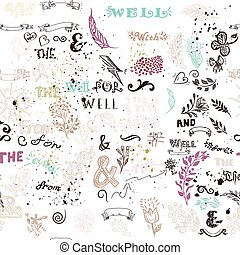 Seamless wallpaper pattern with hand sketched doodles