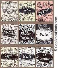 Set of vintage creative cards with hand sketched hipster textures from doodles made with ink for design
