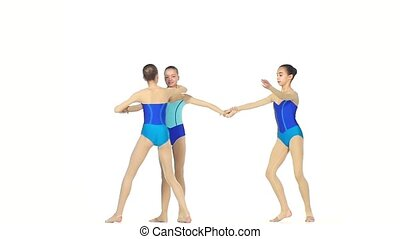ballet girls posing in blue dress together, slow motion