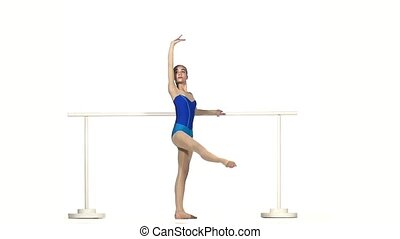 ballet dancer isolated on white background slow motion -...
