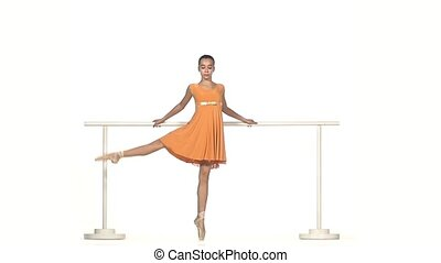 Ballerina in  dress Posing on White Background