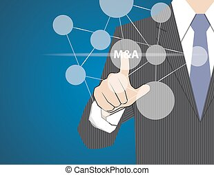 Concept Businessman Touching on Touch Screen,acquisition strategy,vector