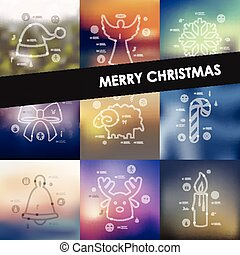 Christmas timeline infographics with blurred background -...