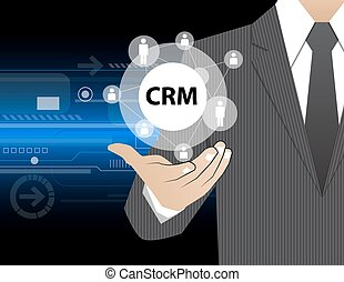 Concept Businessman in his hands ,CRM,vector