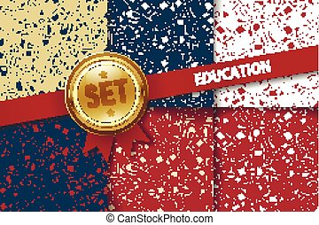 Set of education backgrounds with doodle icons in different colors