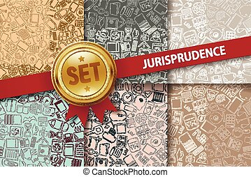 Set of jurisprudence backgrounds with doodle icons in...
