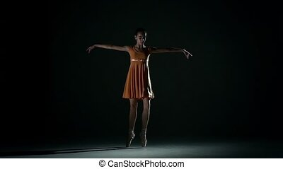 cute ballerina in dress large hall. slow motion - little...