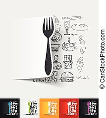 fork paper sticker with hand drawn elements - hand drawn...