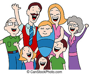 Newborn Baby - Cartoon of a family welcoming a new baby into...
