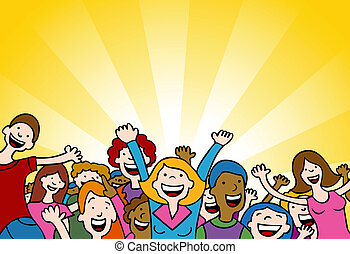 Amazing People - Cartoon of people cheering in amazement.