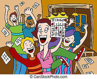 Bingo Winner - Cartoon of a woman winning at a game of...