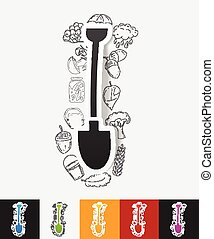 shovel paper sticker with hand drawn elements - hand drawn...