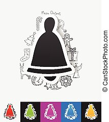 christmas bell paper sticker with hand drawn elements - hand...