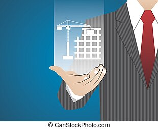 Concept Businessman in his hands ,The construction of housing