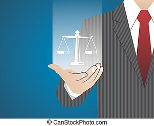 Concept Businessman in his hands ,law