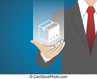 Concept Businessman in his hands ,Insurance cargo