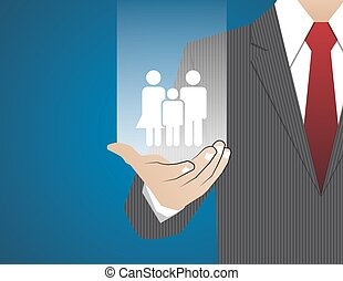 Concept Businessman in his hands ,Insurance family