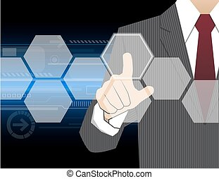 Businessman working with modern virtual technology, hand...