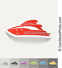 realistic design element yacht - yacht paper sticker with...